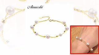 Video Jewelry Collection AINUOSHI 18K Yellow Gold Natural Cultured Freshwater Pearl Bracelet Female NEW download MP3, 3GP, MP4, WEBM, AVI, FLV Juni 2018