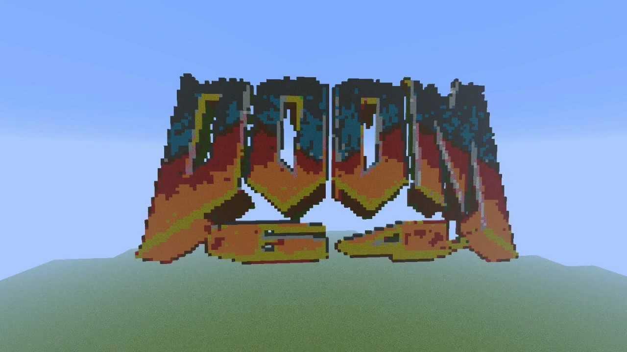 Minecraft Doom Logo Pixel Art Youtube