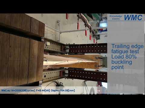 Wind turbine rotor blade trailing edge fatigue test to failure (sub-component)