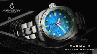 ARAGON® Parma 2 24-HR Indicator SEIKO SII NH37 Automatic Watch Review