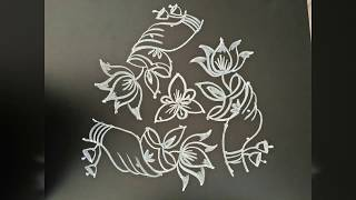 Easy rangoli designs....simple welcoming rangoli....deepam rangoli...7 to 4 middle dots