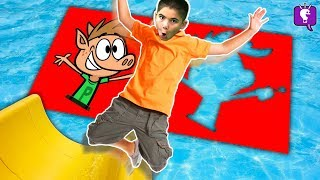 Water Sliding Through Impossible CARTOON Shapes! Challenge by HobbyKidsTV