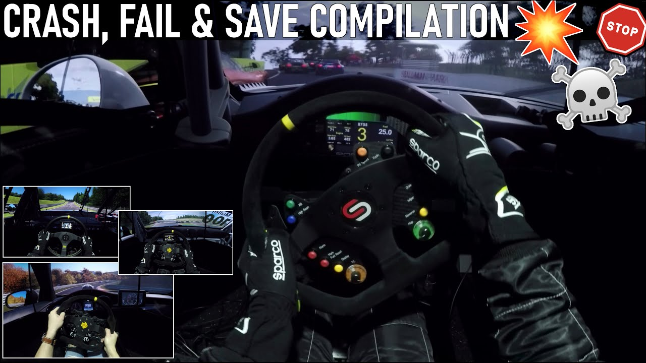 2021 Crash, Save & Fail Compilation [Driver's EYE] - Full Motion Simulator & Triple Screen Setup