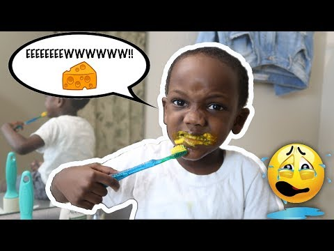 FOOD COLORING IN TOOTHPASTE PRANK ON 4yr Old