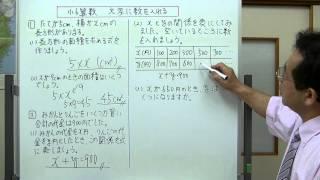 文字で表した式の、文字の部分を与えられた数字に変えて計算する問題に...