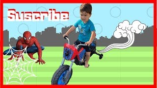 Spiderman motorcycle videos electric car toys for funny kids christmas presents