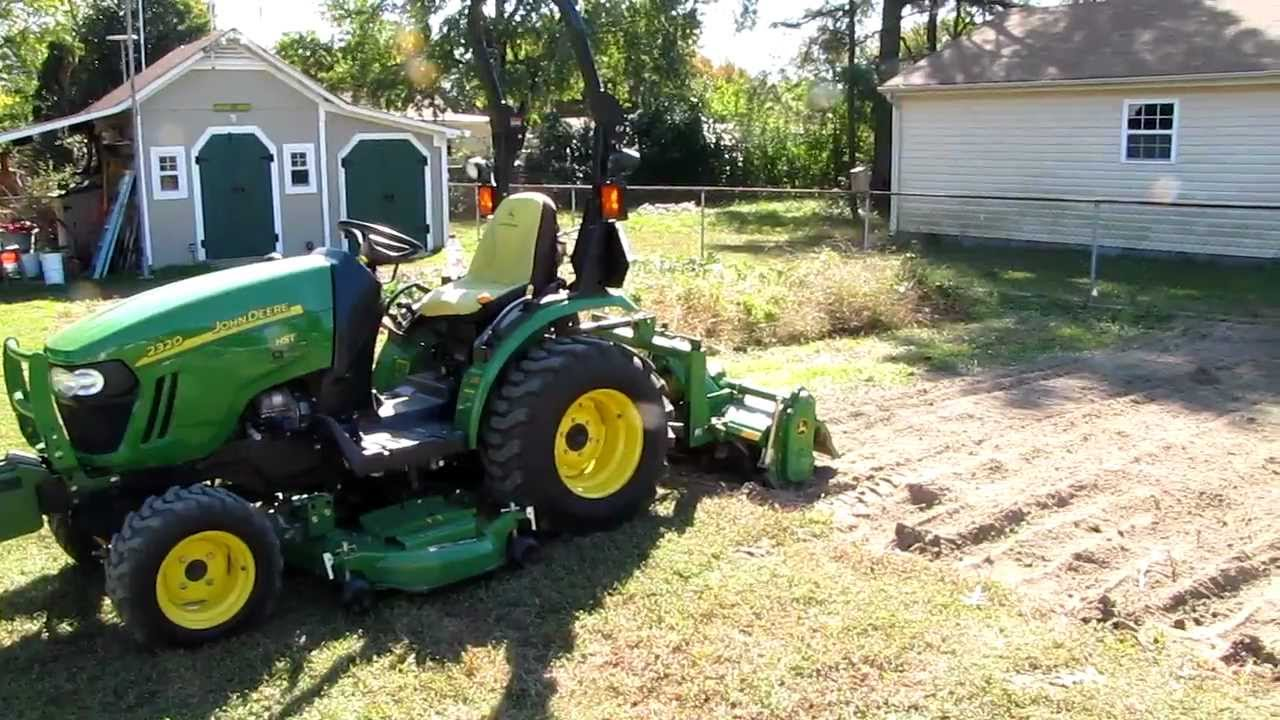 john deere 2320 and 647 roto tiller pulverising the garden. Black Bedroom Furniture Sets. Home Design Ideas