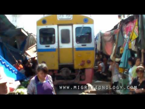 Dangerous Maeklong Train Track Market (ตลาดแม่กลอง): Samut Songkhram, Thailand
