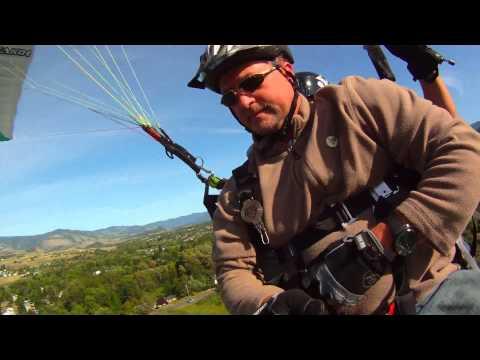 Chris Nolte paraglides from Woodrat Mountain to Helman School in Ashland