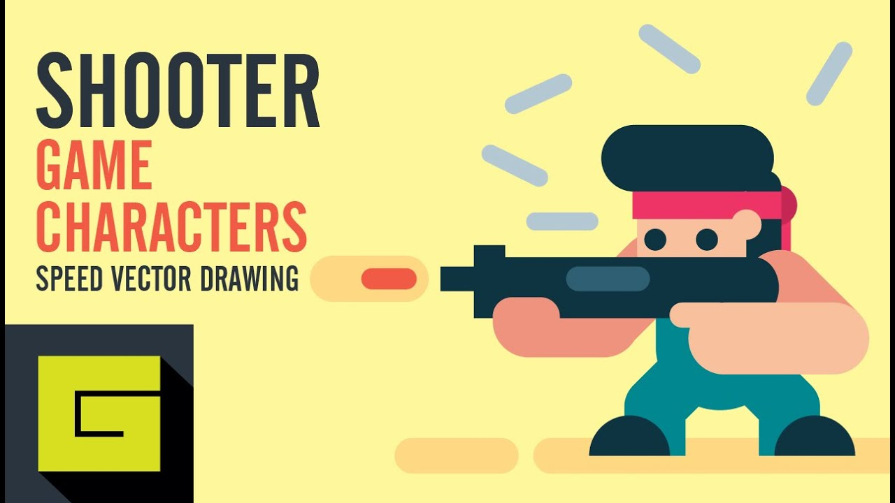 Speed Drawing, How To Draw Game Character, Shooter, Adobe Illustrator  Tutorial