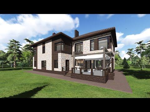 Видео презентация проекта дома из кирпича, с облицовкой камнем