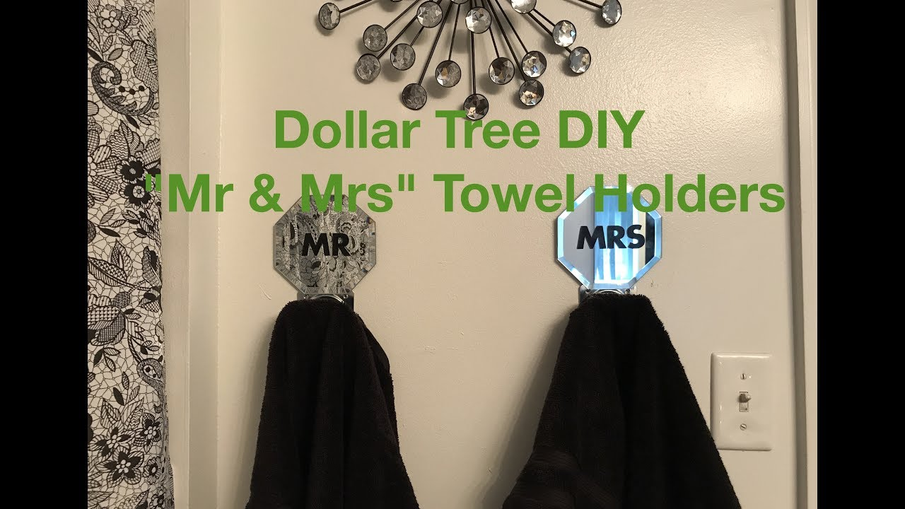 Dollar tree diy mr mrs bathroom towel holders youtube for Bathroom decor dollar tree