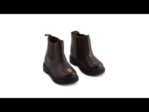 Ex-Chainstore Boys Leather Look Chelsea Brown Boots 3-8 UK