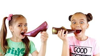 Chocolate Challenge with Elina and Julia Funny Story for kids