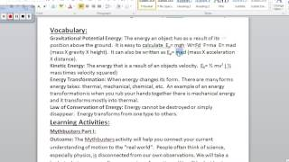 Energy and Motion Vocabulary