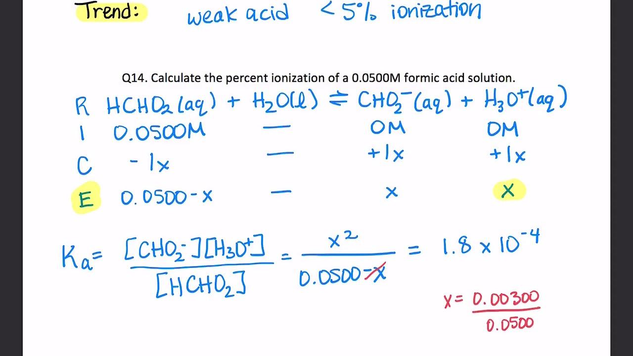Percent ionization of a weak acid - YouTube