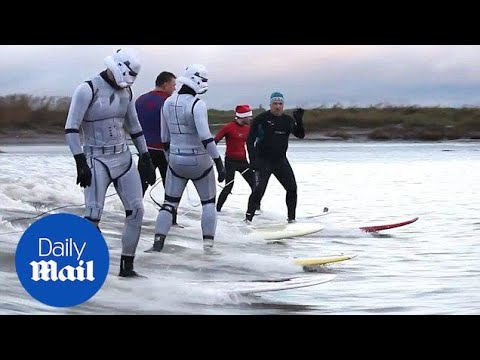 Stormtroopers show off new hobby surfing the Seven Bore - Daily Mail