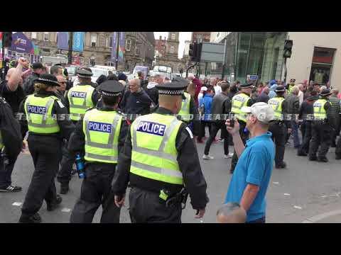 Scottish Defence League Demo Glasgow - Marchers Exit & Antifa Protest - 21 July 2018