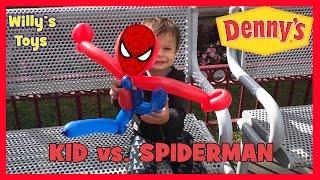 CRAZY KID vs. SPIDERMAN Balloon Animal Fight at Denny's Disneyland Resort - Willys Toys