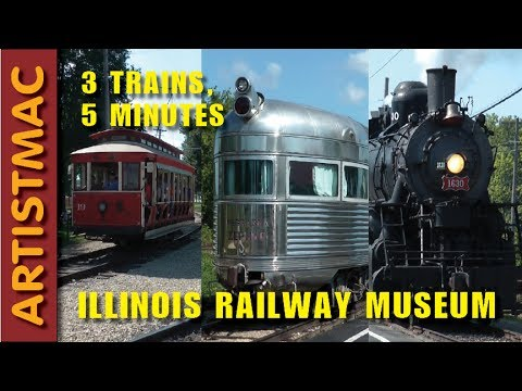Two Vintage Trains and a Trolley in Five Minutes, Illinois Railway Museum