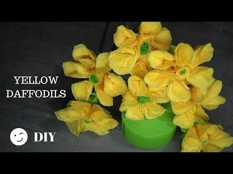 219 DIY Easy Yellow Paper Daffodils/ Flower Craft Tutorial