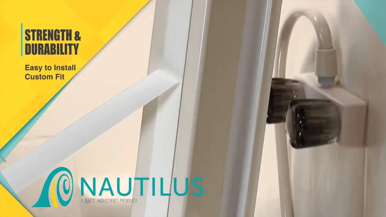 nautilus retractable shower door