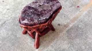 Crystal Stone Top Bamboo Wood Sticks Accent Stool Table Cs381