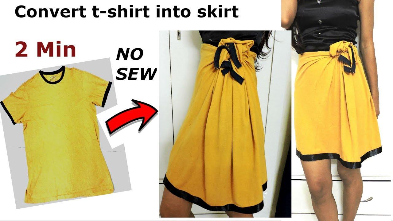 a570a38c032a1 DIY  Convert Reuse revamp old Men s T-Shirt into girl s Skirt  2 min work No  Sew