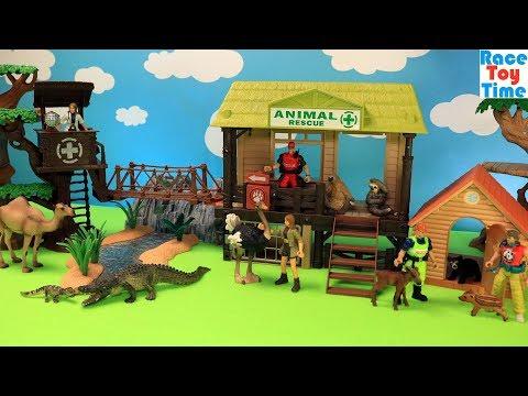 Wildlife Animals Toys Care Center Set - Fun Animal Toy Video For Kids