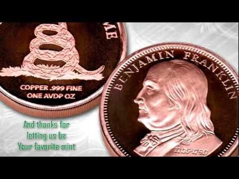 Copper Bullion Benjamin Franklin rounds - Don't tread on Me