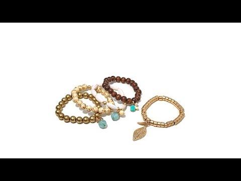 Melissa Gorga Set of 5 Beaded Stretch Dangle Bracelets. http://bit.ly/2LaaMmy