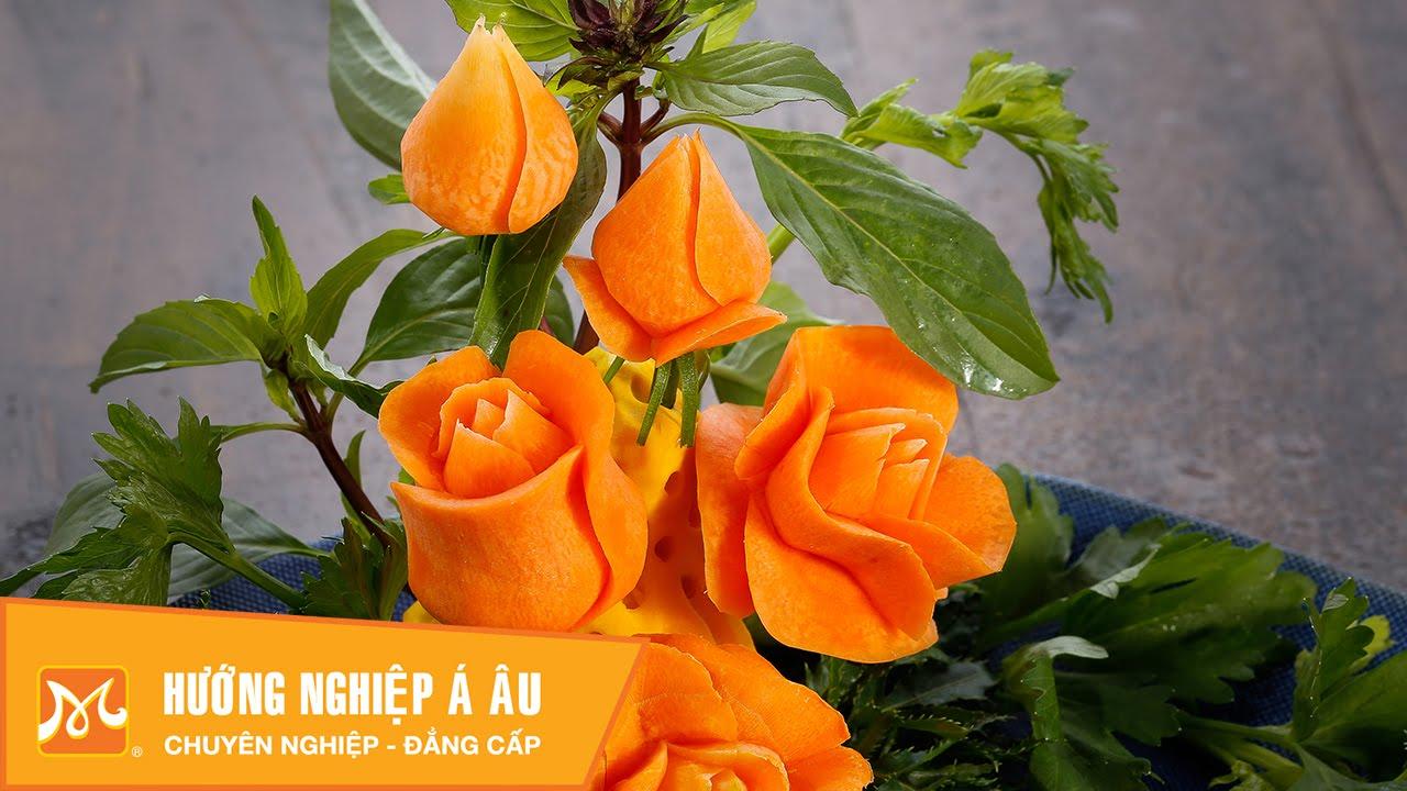3 cách cắt tỉa hoa hồng từ cà rốt | Học cắt tỉa cà rốt