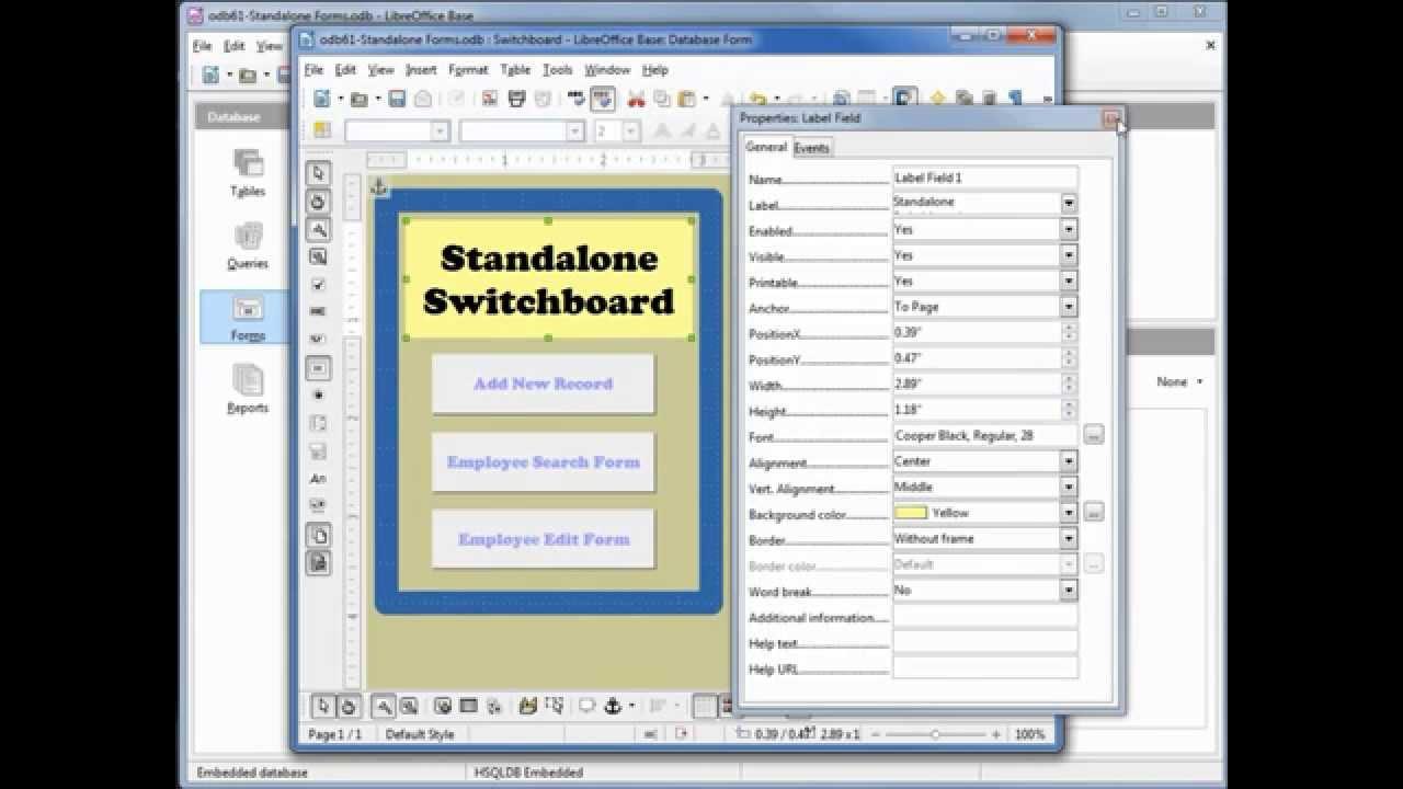 LibreOffice Base (62) Standalone Switchboard