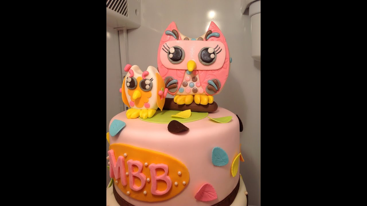 Owl Themed Baby Shower Cake Youtube