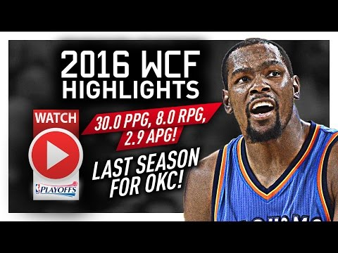 Kevin Durant WCF Offense Highlights VS Warriors 2016 Playoffs - LAST Run for OKC! UNSTOPPABLE!