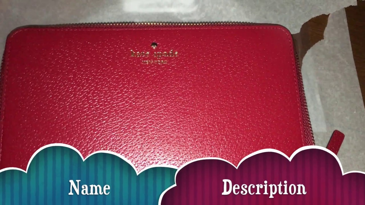 kate spade grand street leather zip travel wallet red