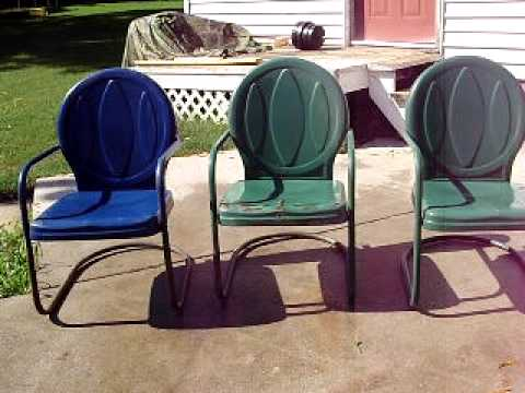 Vintage Metal Bouncy Motel Lawn Chairs Set Of Three