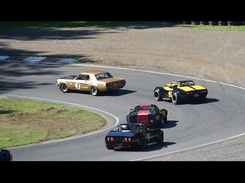 !! WOW !! 600+ HP,  3 - 427 Corvettes Vs. a 427 Mustang Road Racing