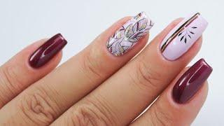 Autumn nails / leaves art / Charbonne #autumnnails