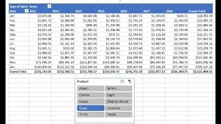 Excel Magic Trick 1456: PivotTable & Slicer to Create 8 Year Sales Report by Product & Month