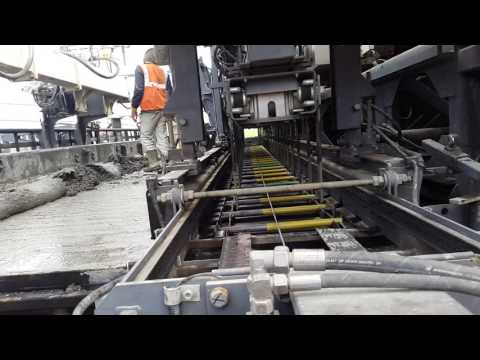 Laying Concrete Pavement (PQC ) by Wirtgen Slipform Paver