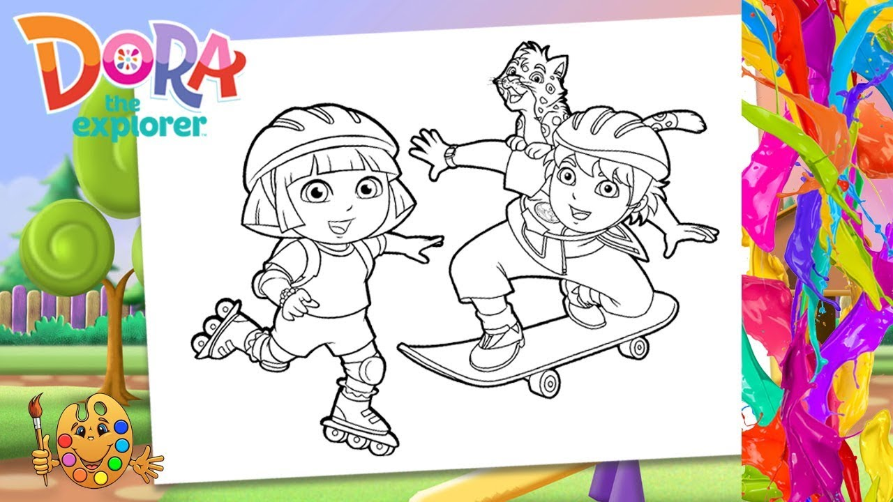 Dora the expolorer : Dora, Diego & baby Jaguar | Coloring pages for ...