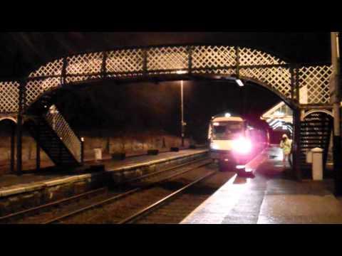 Night Passenger Train Arriving Birnam And Dunkeld Highland Perthshire Scotland