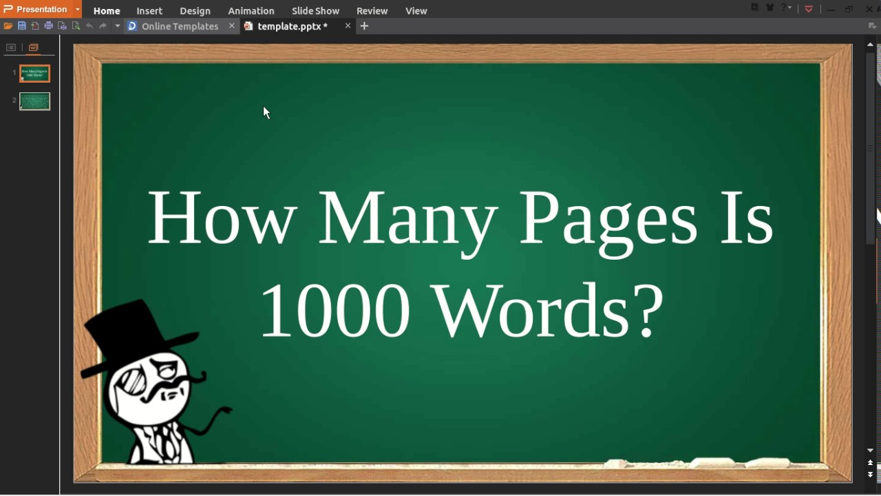 How many pages is 1000 words youtube