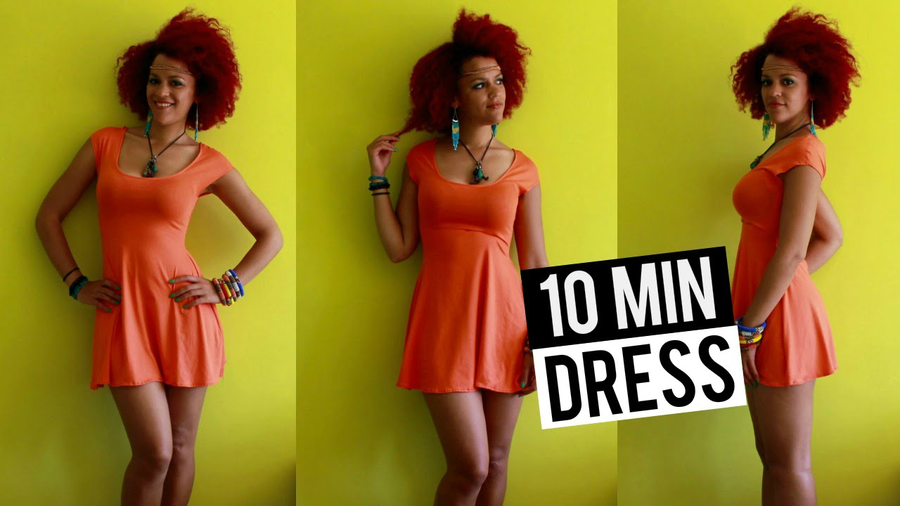 DIY Summer Skater Dress in 10 min   DIY Clothes - YouTube