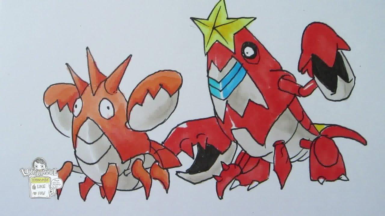 How To Draw Pokemon No 341 Corphish No 342 Crawdaunt Youtube