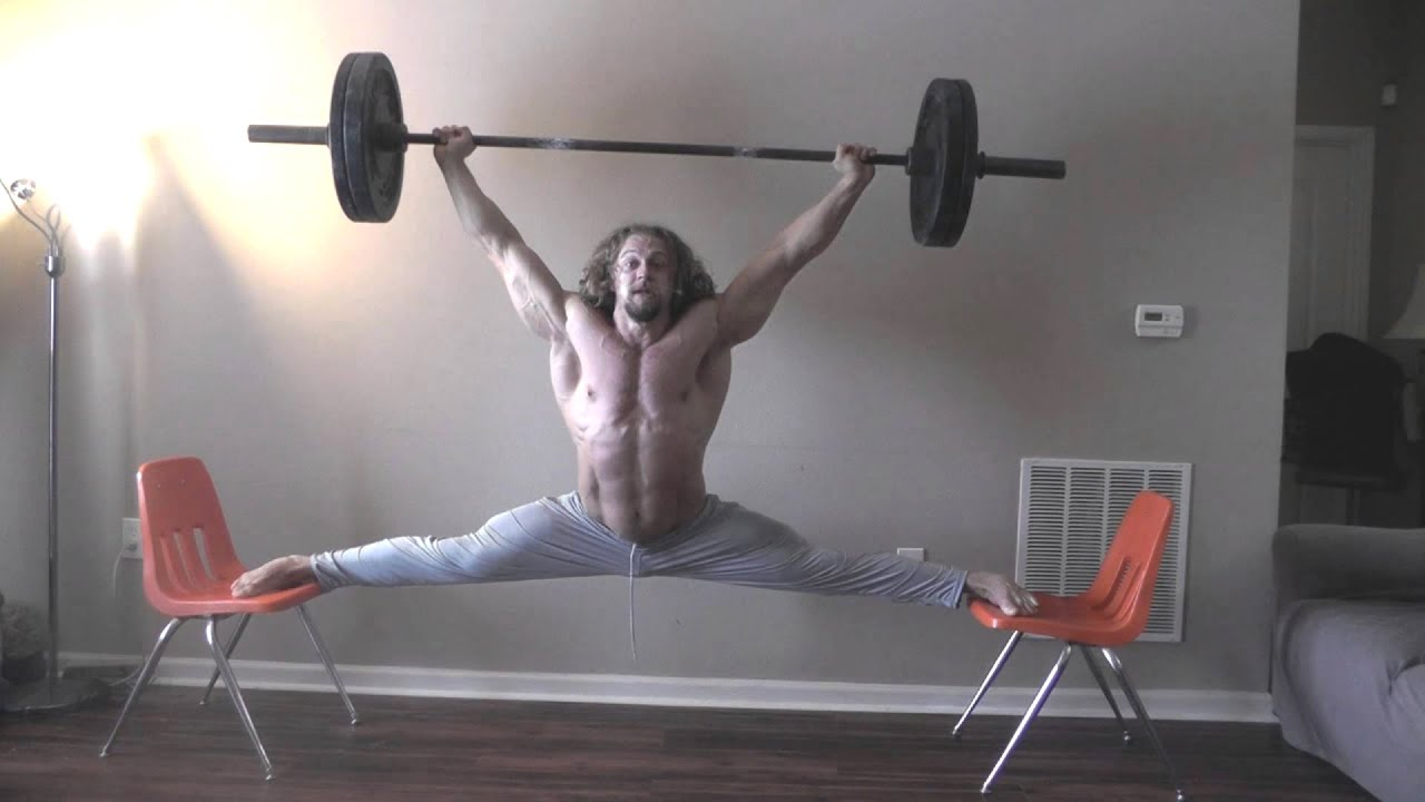 Overhead Barbell Splits - YouTube