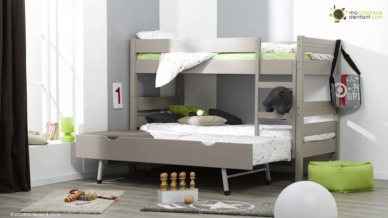 Lit enfant superpos 1 2 3 ma chambre d 39 enfant youtube - Lit superpose 3 places ikea ...