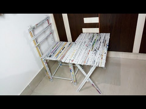 DIY newspaper crafts idea ll chair and table ll best out of Waste ll kids craft
