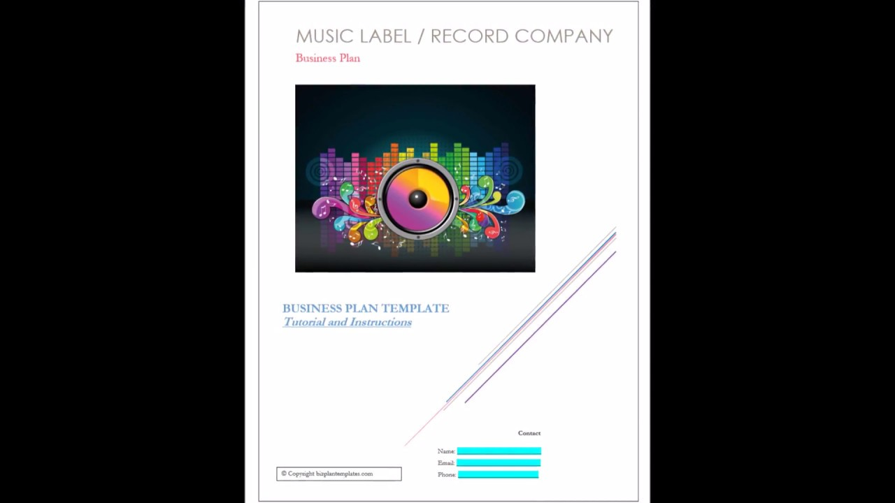 Record label Music business plan cover Page - Template Example